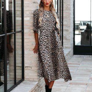 Vici leopard midi dress